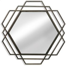 Metal Hexagon Mirror  32in X 32in X 1in  Wall Mirror