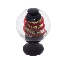 Oil Rubbed Bronze 30 mm Clear Knob w/Red