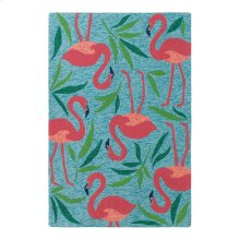Fancy Flamingo Rug, AQUA, 26X8