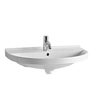 China Series U-shaped china wall mount basin with chrome overflow and rear center drain. Product Image