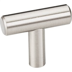 """39 mm (1-1/2"""") Overall Length 7/16"""" Diameter Hollow Stainless Steel Cabinet Bar Pull """"T"""" Knob with Beveled Ends. Product Image"""