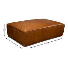 Utah Ottoman, Columbia Brown Leather