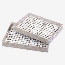 Ecotessa coconut white patina tray set-2 (19x14.5x2.5 / 18x13.5x2.5)
