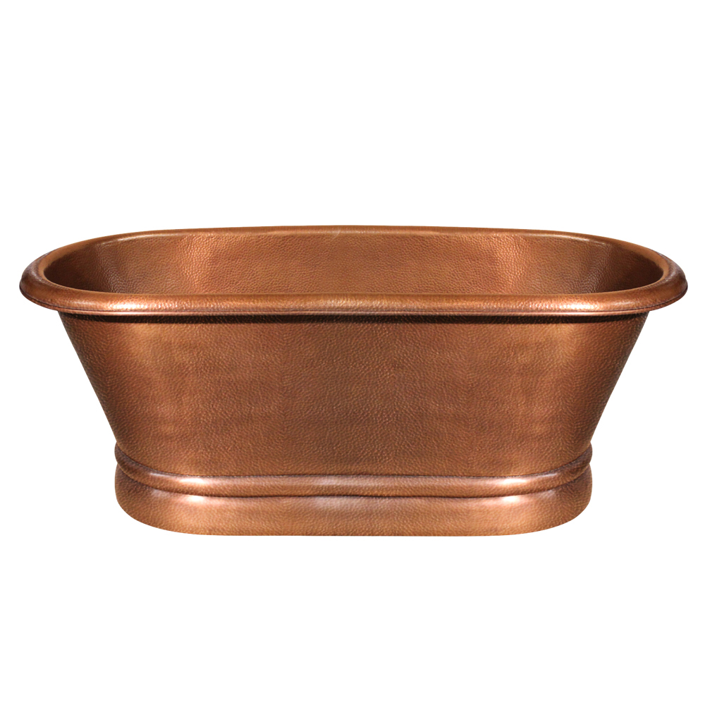 Bathhaus handmade copper double-ended freestanding bathtub with a hammered exterior texture and a lightly hammered interior texture.
