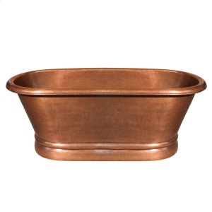 Bathhaus handmade copper double-ended freestanding bathtub with a hammered exterior texture and a lightly hammered interior texture. Product Image