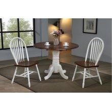 "DLU-ADW4242-820-AW3PC  3 Piece 42"" Round Drop Leaf Dining Set  Arrowback Chairs"