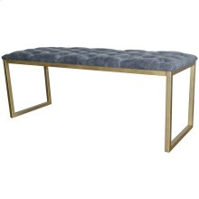 Avril KD Bonded Leather Bench Gold Frame, Vintage Midnight