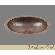 Solid Copper Oval Lavatory - Light Hammertone - Dark