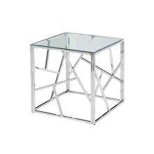 Ec, Modern Silver/glass Accent Table, Kd