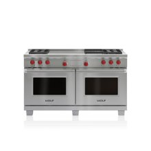 "60"" Dual Fuel Range - 4 Burners, Infrared Charbroiler and French Top"