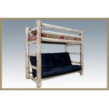 Montana Log Twin Bunk Bed over Full Futon