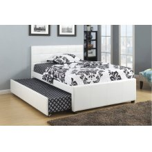 F9216F / Cat.19.p108- FULL BED W/TRUNDL W/SLATS WHT