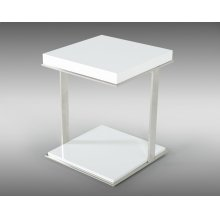 Modrest Optimus Modern White & Stainless Steel End Table