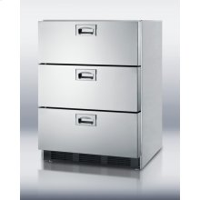 ADA compliant built-in stainless steel refrigerator with three drawers and auto defrost