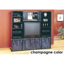 TV STAND - CHAMPAGNE / BRASS WALL UNIT