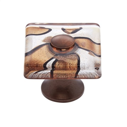 Old World Bronze 35 mm Silver Flat Square Knob