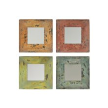 MH1056B  Colorful Square Mirrors (s/4)