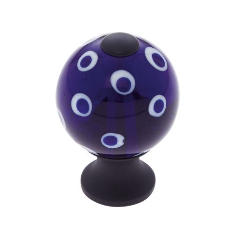 Oil Rubbed Bronze 30 mm Blue Knob w/Polka Dots