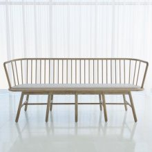 Spindle Long Bench-Grey Leather