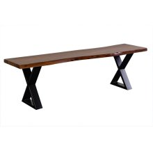 Manzanita Walnut Acacia Bench with Different Bases, VCA-BN60W