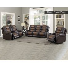 "Park Avenue Pwr-Pwr-Pwr Console Loveseat Brown 79""x40""x43"""