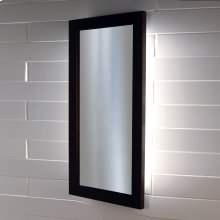 Wall-mount mirror in metal or wooden frame with LED lights.