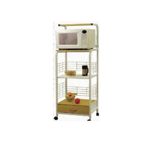 Microwave Stand with an Electical Outlet and Drawer in a White Finish with Maple.
