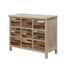 Pablo Pinewood Chest With 9 Multi-colored Drawers