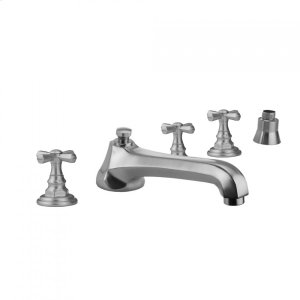 Antique Brass - Westfield Roman Tub Set with Low Spout and Hex Cross Handles and Straight Handshower Mount Product Image
