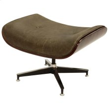 WAGNER SWIVEL OTTOMAN  Vintage Brown Leather with Iron Finish on Metal Frame