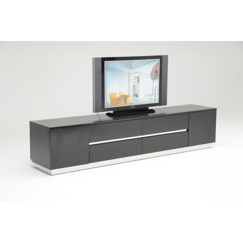 A&X Skyline Modern Black Crocodile Lacquer TV Unit