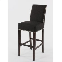 "24"" barstools have a seat height of 26"" when measured. Straight top chair w/ small nails around the seat & a double row of nails on inside & edge of back"