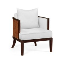 Occasional Tub Chair with Rattan Matte Back, Upholstered in COM