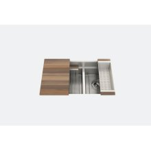 "SmartStation® 005456 - undermount stainless steel Kitchen sink , 18"" × 18 1/8"" × 10""  12"" × 18 1/8"" × 10"" (Walnut)"