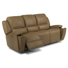 Oxford Leather Power Reclining Sofa with Power Headrests