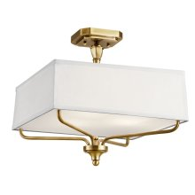 Arlo 3 Light Semi Flush Natural Brass