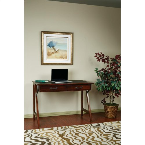 """Dorset 44"""" Computer Desk In Cider Finish With Trestle Solid Wood Legs & Sawhorse Frame"""
