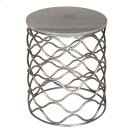 Bengal Manor Solid Iron Accent Table in Nickel Finish w/ Grey Marble Top Product Image