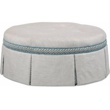 Downing Round Cocktail Ottoman with Contrast Band