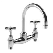 """Cross handle basin bridge mixer with 6 1/2"""" spout"""