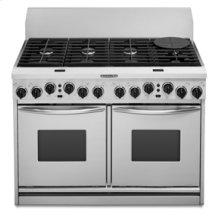 "48"" Width 8 Burners Porcelain-on-Steel Cooktop True Convection Oven Dual Fuel Freestanding or Slide-In Range"