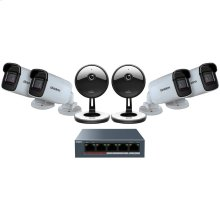 1080p Indoor/Outdoor Security Cloud System with 5-Port PoE Switch (6 Cameras)