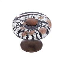 Old World Bronze 35 mm Clear Flat Round Knob