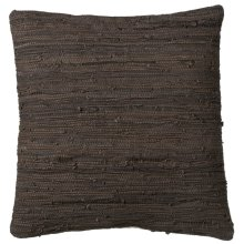 Brown & Black Leather Chindi Floor Pillow (Each One Will Vary)