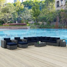 Summon 11 Piece Outdoor Patio Sunbrella® Sectional Set in Canvas Navy