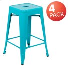 """24"""" High Metal Counter-Height, Indoor Bar Stool in Teal - Stackable Set of 4 Product Image"""