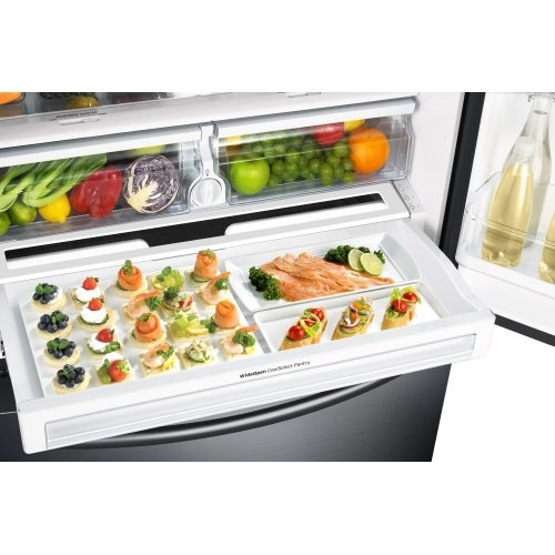 French Door Counter Depth Refrigerator with Twin Cooling Plus in Black Stainless Steel **OPEN BOX** Ankeny Location