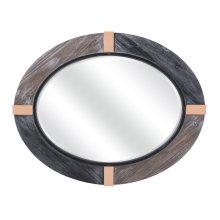 Urania Oval Wooden Mirror with Metal Accents