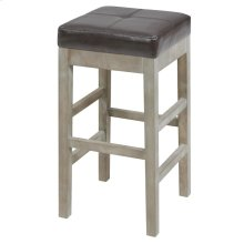 Valencia Bonded Leather Backless Counter Stool Mystique Gray Legs, Coffee Bean