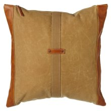 Antique Tan Canvas Pillow with Center Strap and Faux Leather Accents